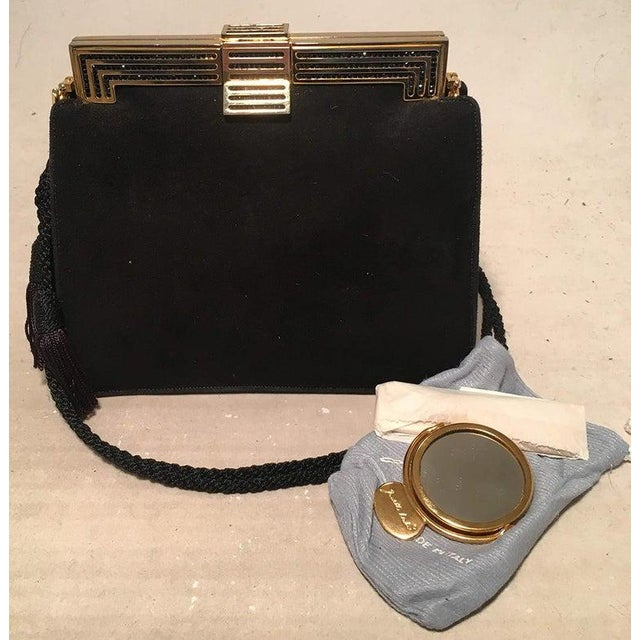 1980s Judith Leiber Black Suede Evening Bag Clutch With Silk Tassel For Sale - Image 5 of 10