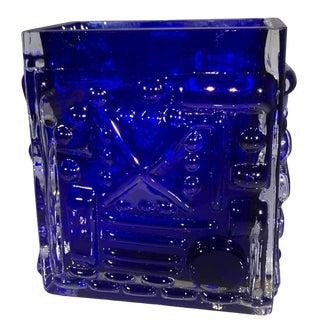 20th Century Swedish Smålandshyttan Blue Art Glass Vase For Sale