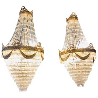Pair of Palatial Bronze and Crystal Swag Design Louis XVI Style Chandeliers For Sale