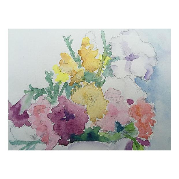 Mid-Century Floral Still Life Watercolor Painting - Image 3 of 4