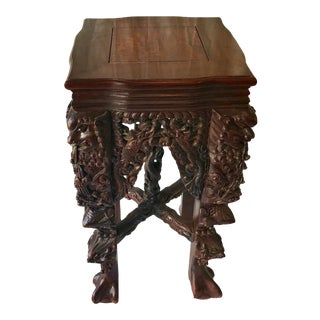 Qing Dynasty Huanghuali Carved Pedestal Table For Sale