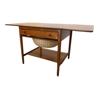 Hans J Wegner Mid Century Drop Leaf Sewing Table For Sale