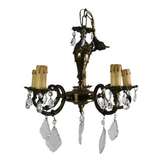 Antique French Bronze and Crystal 5 Light Chandelier For Sale