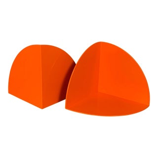 Giotto Stoppino for Kartell 4910 Pop Art Orange Plastic Bookends - a Pair For Sale