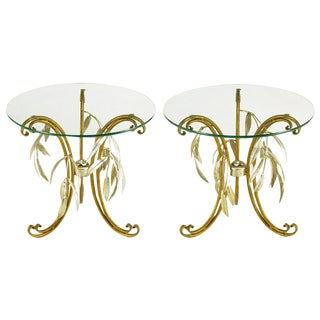 Pair of Italian Tole Metal and Silver Leaf Foliate End Tables For Sale