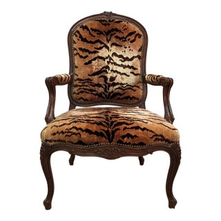 Louis XVI Style Tiger Silk Velvet Chair For Sale