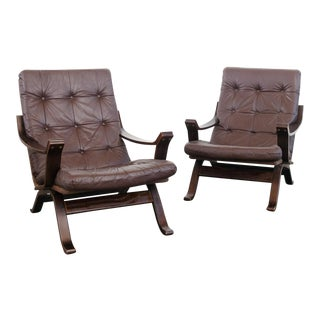 Vintage Mid-Century Leather Sling Chairs - A Pair For Sale