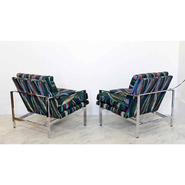1970s 1970s Mid Century Modern Milo Baughman Flatbar Lounge Chairs - a Pair For Sale - Image 5 of 9