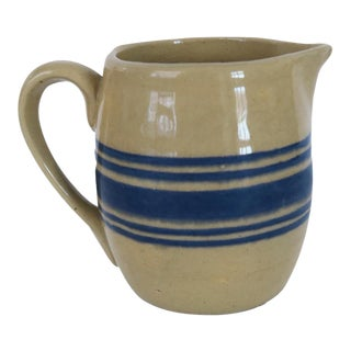 Vintage Cream and Blue Striped Pottery Stoneware Crock Creamer Pitcher For Sale