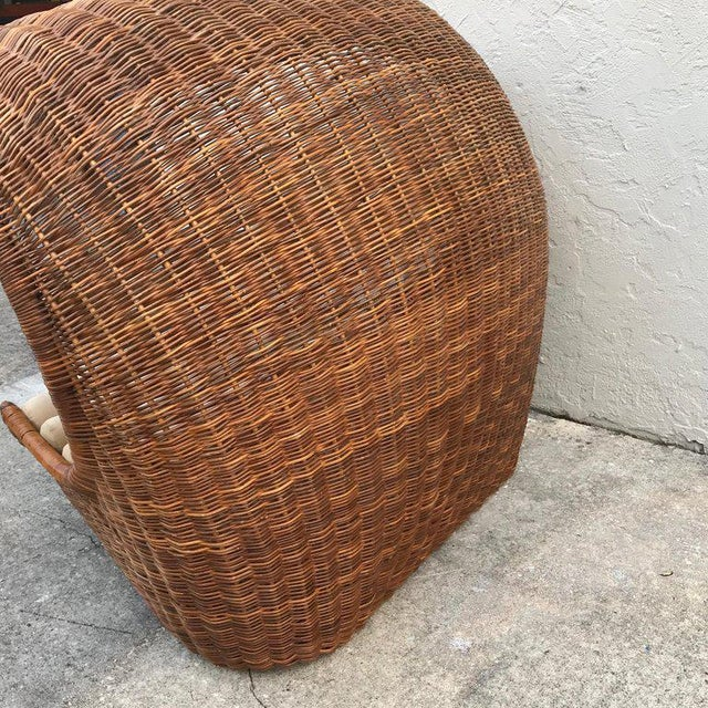 "Mid 20th Century Italian Midcentury ""Wave"" Rattan Lounge For Sale - Image 5 of 12"