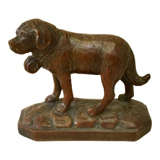 1880 Antique Black Forest Carved Wood Saint Bernard Dog Statue For Sale