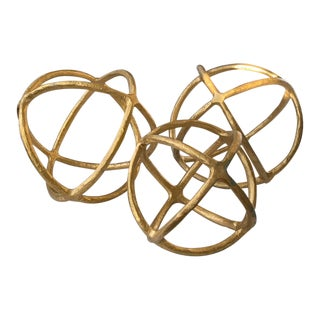Set of 3 Brass Finish Spheres - Decor For Sale