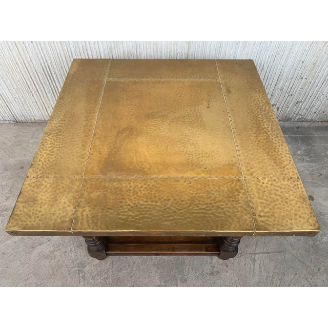 Metal 19th Spanish Zinc Top Coffe or Center Table With Turned Legs and Lower Tray For Sale - Image 7 of 12