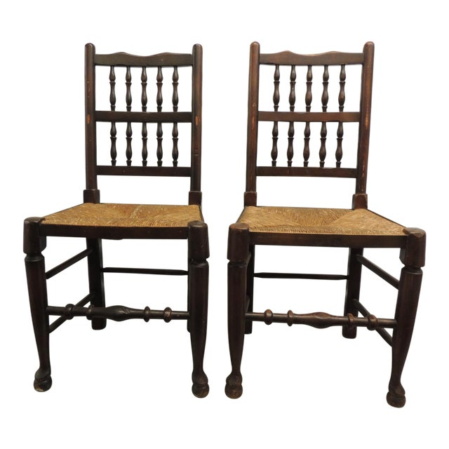 Pair of Antique English Country Harlequin Wood Chairs with Rush Seats For Sale