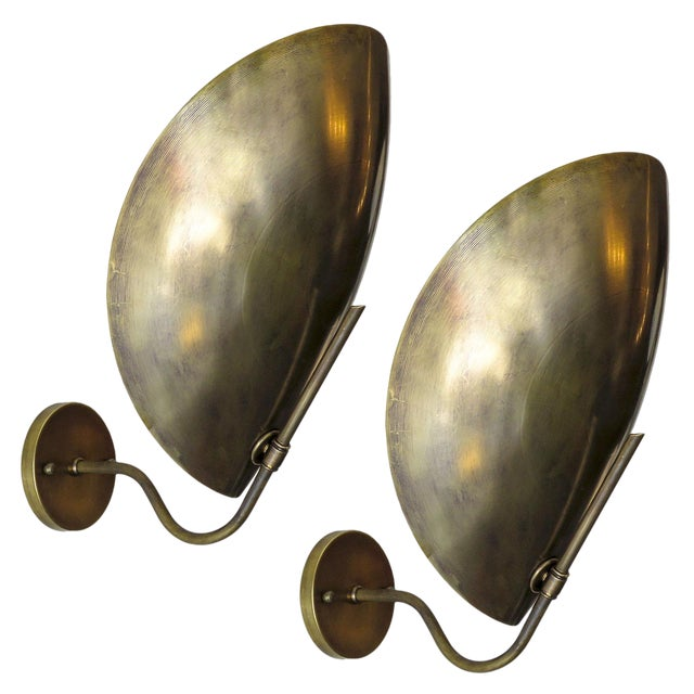 Raw Brass Beetle Wall Lights For Sale