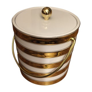 Gold and White Ice Bucket