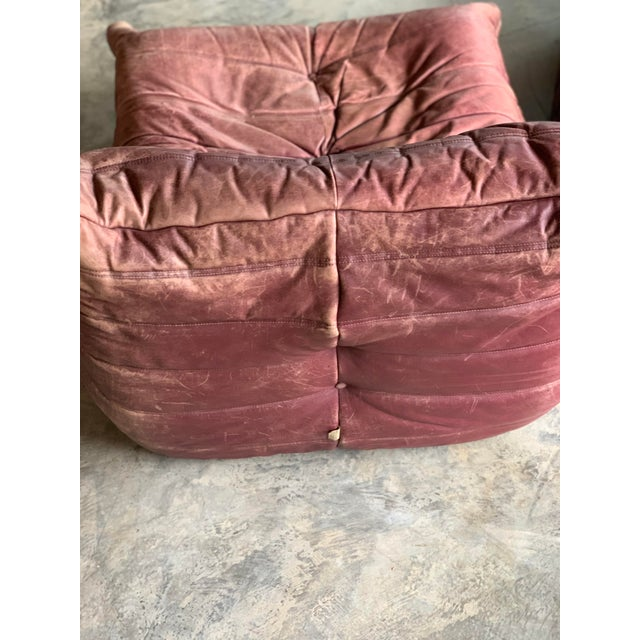 Ligne Roset Leather Togo Chairs and Ottoman For Sale - Image 4 of 6