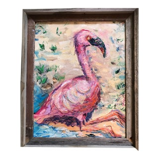 Flamingo Original Oil Painting by Nancy T. Van Ness, Framed For Sale