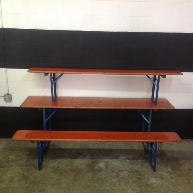 Rustic Orange German Beer Garden Table & Benches For Sale - Image 3 of 8