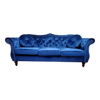 Mid Century Blue Velvet Chesterfield Style Sofa For Sale