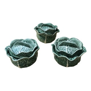Vintage Secla Majolica Green Cabbage Covered Soup Bowls - Set of 3 For Sale