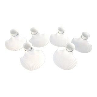 Vintage Porcelain Clam Shell Shrimp Dishes W/Dipping Bowls - Set of 6