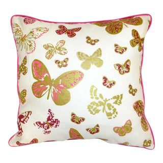 Lulu Dk Duralee Pink Metallic Printed Butterfly Pillow in Linen With a Down Insert For Sale
