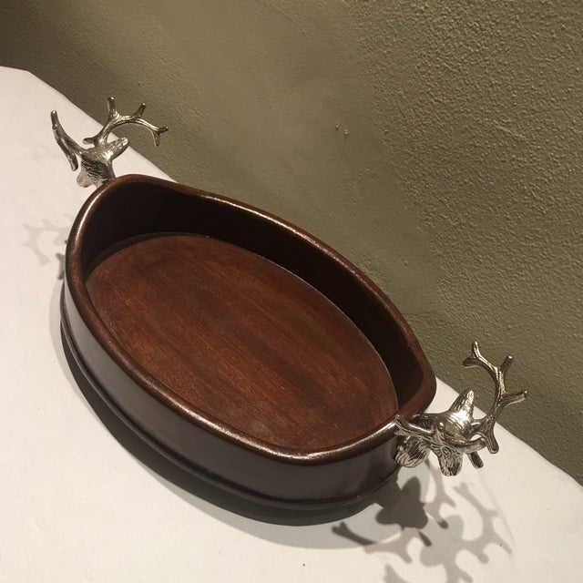 Vintage Holiday Wooden Tray With Pewter Stags For Sale - Image 4 of 6