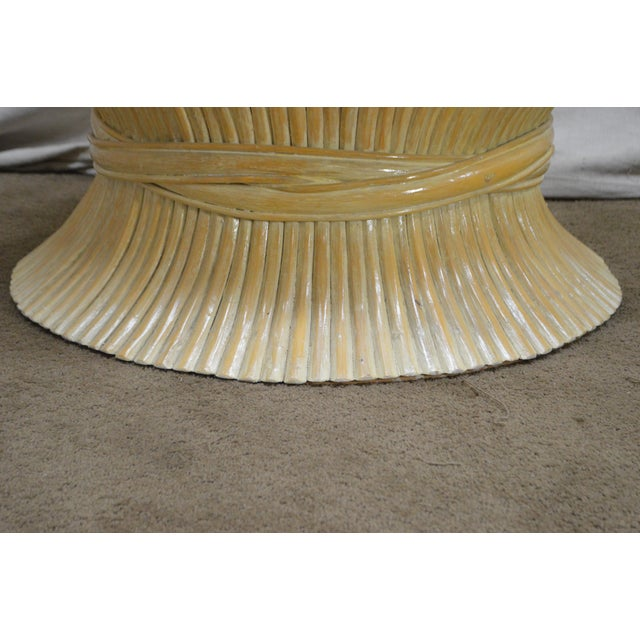 McGuire Style Mid Century Modern Round Wheat Sheaf Rattan Coffee Table For Sale - Image 9 of 13