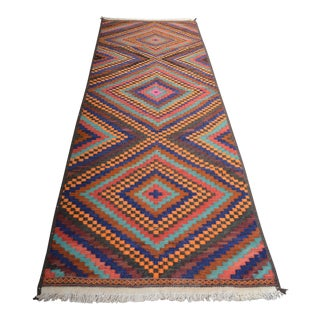 Turkish Handwoven Kilim Runner Rug - 3′ × 9′7″