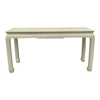 Vintage Baker Grass Cloth Lacquered Asian Ivory Console For Sale