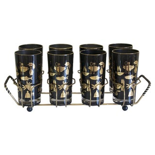 Black & Gold Highball Glasses in Caddy - Set of 8