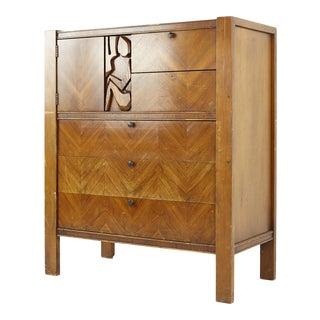 United Furniture Mid Century Tiki Brutalist Walnut Gentlemens Chest Armoire For Sale