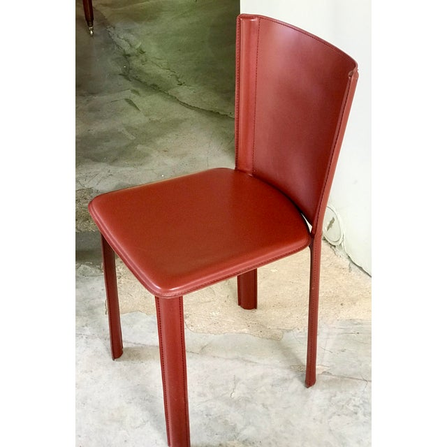 """Italian DWR Red """"Bottega"""" Side Chairs - Set of 4 For Sale - Image 3 of 8"""