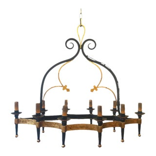 Unusual Large Gilt and Black Iron Chandelier With Ten Arms