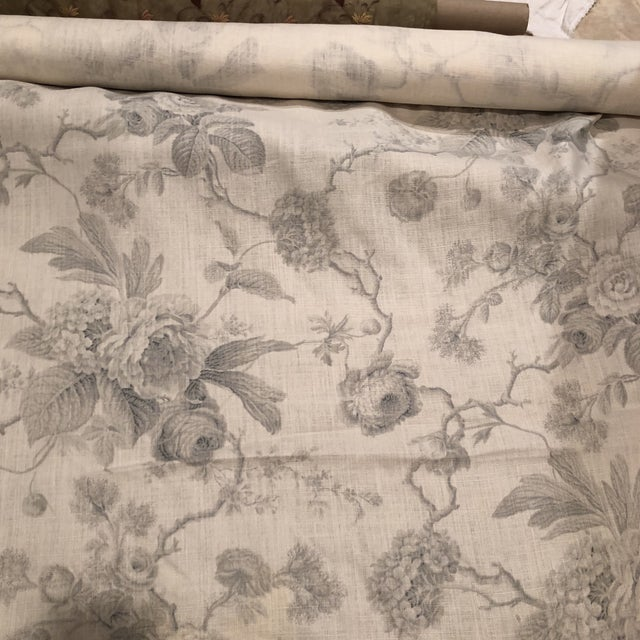 Linen fabric in different shades of gray on off white background. Between 3 to 4 yards.