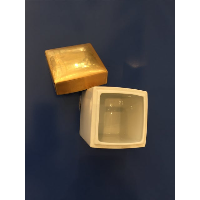 Vintage Gold & White Ceramic Jar - Image 5 of 5