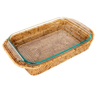 Artifacts Rattan Rectangular Pyrex Holder For Sale