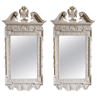 Pair of George II Grey Painted Tablet Mirrors in the Manner of Kent For Sale