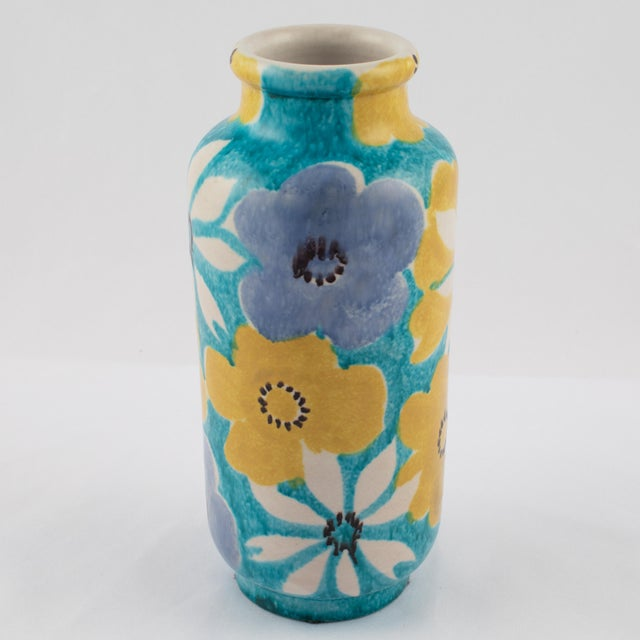 Alvino Bagni Alvino Bagni for Raymor Aqua Vase With Flowers, Circa 1960s For Sale - Image 4 of 12
