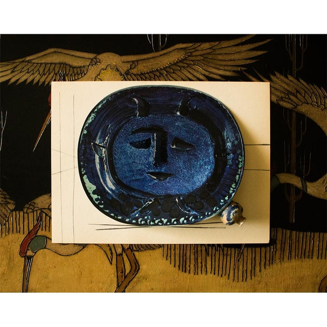 Cubism 1955 Pablo Picasso Satyr in Blue Ceramic Plate, Original Period Swiss Lithograph For Sale - Image 3 of 6