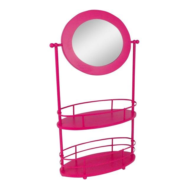 Pink Vanity Mirror & Shelf For Sale