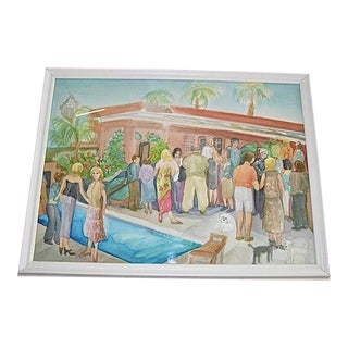 Vintage Original Palm Springs California Hysterical Society Pool Party Watercolor Painting For Sale