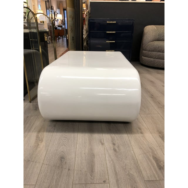 Vintage freshly lacquered white coffee table