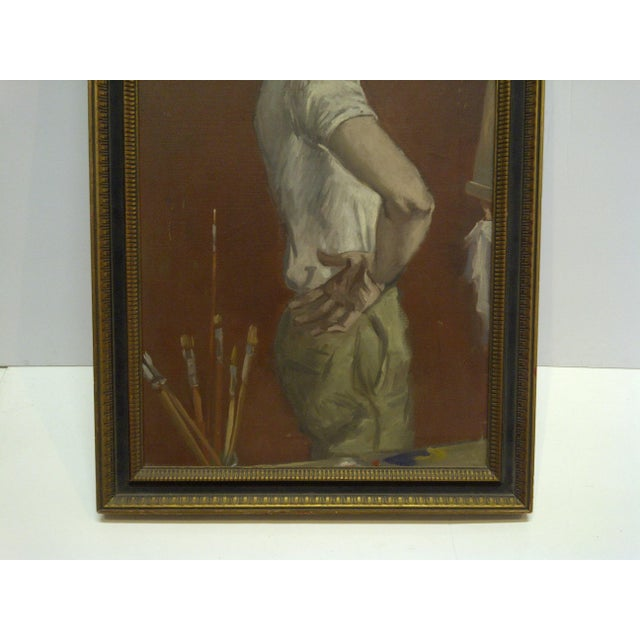 "1960s ""The Painters Boyfriend"" Signed Framed Painting on Canvas by Frederick McDuff For Sale In Pittsburgh - Image 6 of 9"
