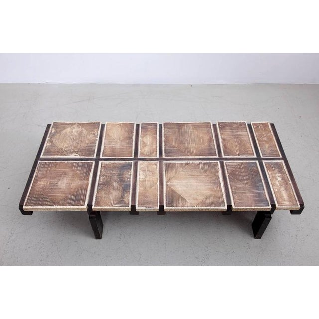 Rare Signed Geometrical Ceramic Coffee Table by Roger Capron For Sale - Image 6 of 7