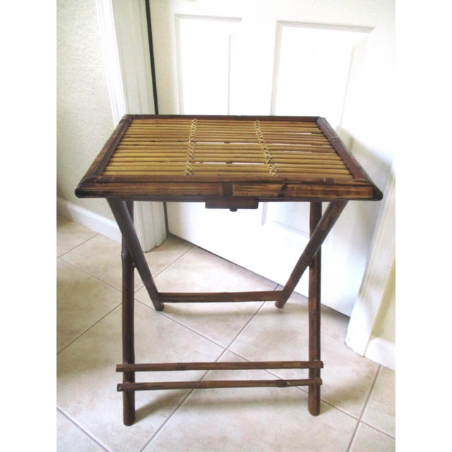 1970s Bamboo Folding Table For Sale - Image 10 of 10
