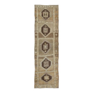 Shades of Brown Vintage Turkish Oushak Runner With Diamond Medallion Design For Sale