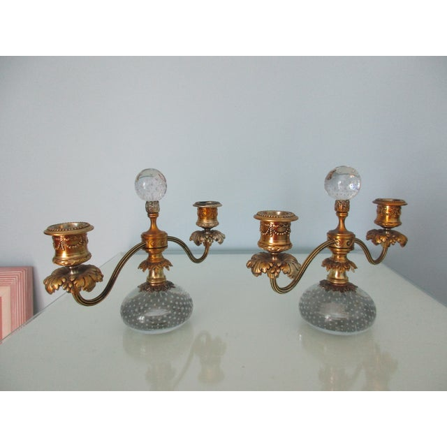 1920s Pairpoint Gilt Metal and Bubble Glass Candelabras - A Pair For Sale - Image 5 of 13