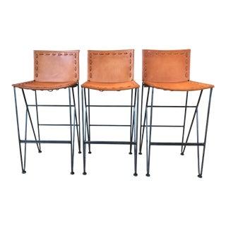 Modern Garza Marfa Natural Leather & Natural Steel Base Barstools- Set of 3 For Sale